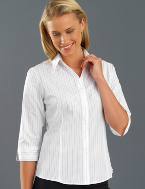 Picture of John Kevin Uniforms-106 White-Womens 3/4 Sleeve Fine Stripe