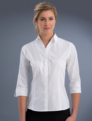 Picture of John Kevin Uniforms-108 Grey-Womens 3/4 Sleeve Classic Stripe