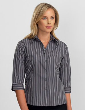 Picture of John Kevin Uniforms-124 Dark Grey-Womens 3/4 Sleeve Multi Stripe