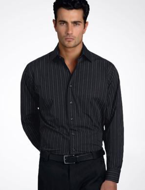 Picture of John Kevin Uniforms-206 Black-Mens Long Sleeve Fine Stripe
