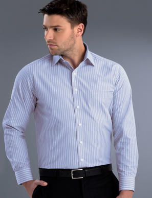 Picture of John Kevin Uniforms-218 Blue-Mens Long Sleeve Pinfeather Stripe