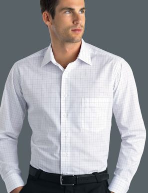 Picture of John Kevin Uniforms-230 Grey-Mens Long Sleeve Window Check