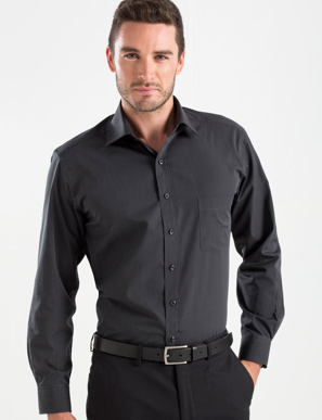 Picture of John Kevin Uniforms-236 Charcoal-Mens Long Sleeve Dark Stripe