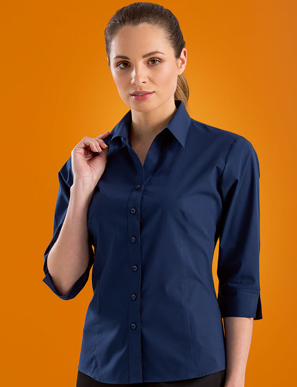 Picture of John Kevin Uniforms-500 Deep Blue-Womens Stretch SlimFit 3/4 Sleeve Poplin