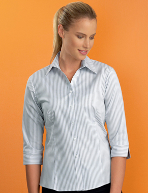 Picture of John Kevin Uniforms-540 Stone-Womens Stretch Slim Fit 3/4 Contemporary Stripe