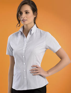 Picture of John Kevin Uniforms-542 Stone-Womens Stretch Slim Fit S/S Contemp Stripe