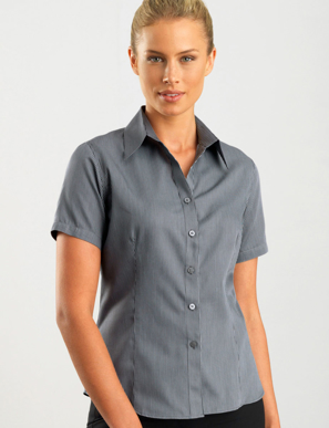 Picture of John Kevin Uniforms-363 Gunmetal- Womens Short Sleeve Pin Stripe