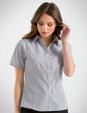 Picture of John Kevin Uniforms-357 Grey-Womens Short Sleeve Multi Check