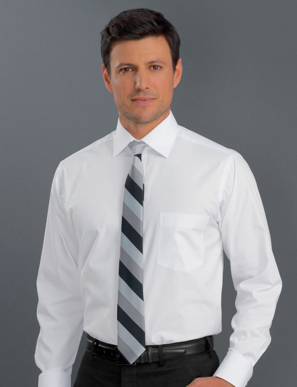 Picture of John Kevin Uniforms-400 White-Mens Long Sleeve Pinpoint Oxford