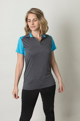 Picture of Be seen-BKP401L--Ladies Charcoal Heather soft touch fabric front and back polo featuring contrast shoulder panel