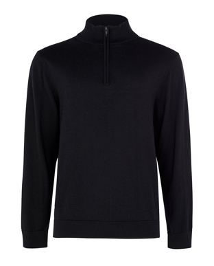 Picture of NNT Uniforms-CATE37-BLA-Long Sleeve Zip Neck Jumper