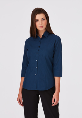 Picture of City Collection-2121-Micro Check 3/4 Sleeve Shirt